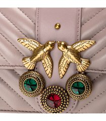 pinko women's love mini icon jewel quilt shoulder bag - taupe