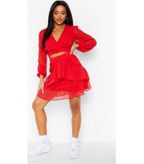 dobby mesh top en met geplooide zoom en mini rokje set, rood