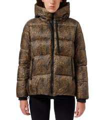 sam edelman leopard-printed hooded puffer coat