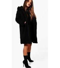 petite oversized teddy jas met capuchon, zwart
