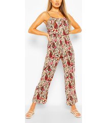 woven paisley print strappy cami jumpsuit, red