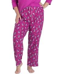muk luks plus size printed butter-knit pajama pants