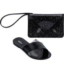 melissa good times slide sandal & clutch set -