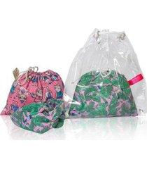 mochila conjunto infantil ania store folhas e corujinhas feminina