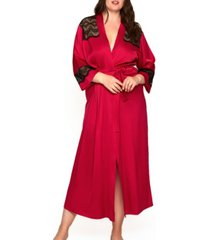 women's plus size luxury long robe trimmed in lace