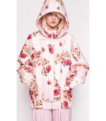 kurtka puchowa różowa z kwiatami