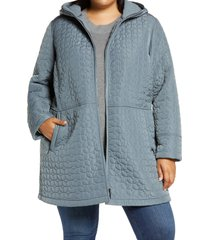 plus size women's gallery fleece lined quilted hooded jacket