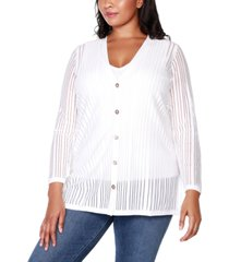 belldini black label plus size striped long sleeve button-front cardigan