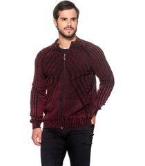 jaqueta tricô 100% algodão malásia vinho - kanui