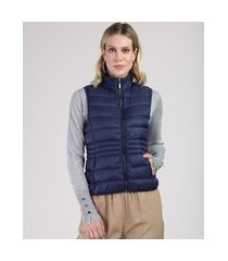 colete feminino puffer em nylon com bolsos gola alta azul marinho