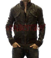 handmade new men stylish front unique pocket style bomber leather jacket