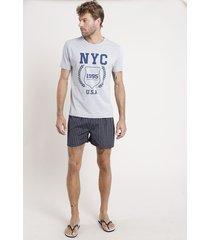 """pijama masculino """"nyc"""" com camiseta manga curta + samba canção listrado cinza mescla claro"""