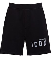dsquared2 icon jersey bermuda with logo print