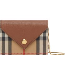women's burberry vintage check & leather card case with detachable strap - brown