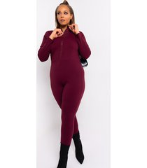 akira plus back to basics long sleeve front zip jumpsuit