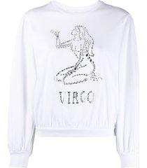 alberta ferretti virgo crystal-embellished sweatshirt - white