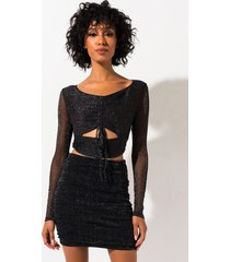 akira about you sparkle cut out long sleeve top