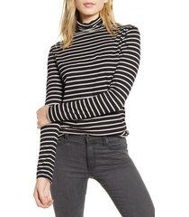 women's ag chels stripe turtleneck top, size x-small - black