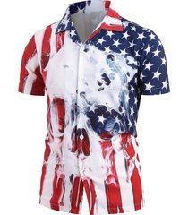 american flag skull print short sleeve shirt