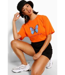 flap your wings graphic t-shirt, oranje