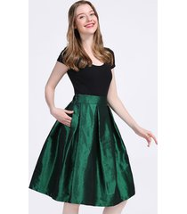 emerald green a line ruffle skirt women taffeta high waist midi pleated skirts