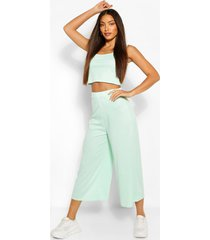 tall rib crop top and culottes trouser co-ord, mint