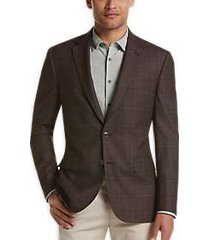 joseph abboud brown plaid modern fit sport coat