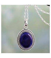 lapis lazuli pendant necklace, 'true clarity' (india)