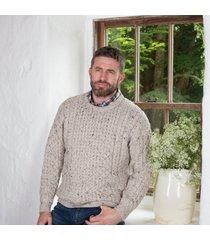 men's oatmeal merino crew neck sweater xs