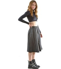 falda italiana ecocuero lisa negro bous