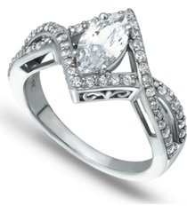 cubic zirconia marquise center stone split shank ring in fine silver plate