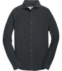 joseph abboud dark charcoal herringbone knit sport shirt