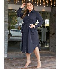 vestido de manga larga con cuello clásico azul marino de talla grande de yoins