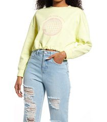 women's bp. care for your mother crop organic cotton sweatshirt, size large - green