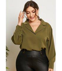 blusa de manga larga con cuello de solapa y talla grande yoins