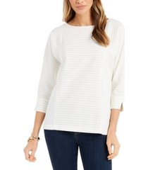 charter club petite textured boat-neck top, created for macy's