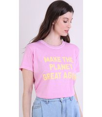 "t-shirt feminina mindset ""planet great"" manga curta decote redondo rosa"