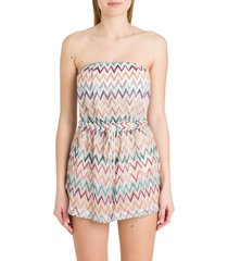 missoni short one-piece jumpsuit in zigzag knit