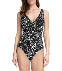 dot-print one-piece swimsuit