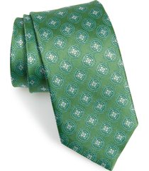 men's david donahue medallion silk tie, size regular - green