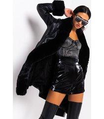 akira azalea wang gram girl pu and faux fur wrap coat