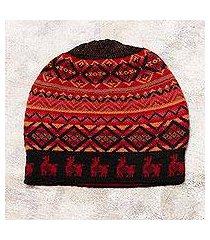 alpaca blend knit hat, 'alpaca sunrise' (peru)