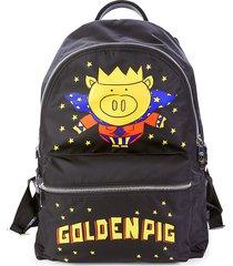 dolce & gabbana women's golden pig nylon backpack - black multi