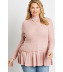 maurices plus size womens solid ribbed mock neck babydoll top pink