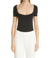 simon miller eero square neck bodysuit, size x-large in black at nordstrom