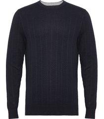 herringb texture crew neck stickad tröja m. rund krage blå tommy hilfiger tailored