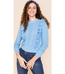 women's whitt ruffled pull over sweater in blue by francesca's - size: l