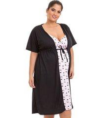 jogo de camisola com robe gestante plus size estampado feminino luna cuore