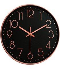 relógio de parede 30cm preto e rosegold