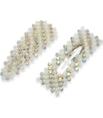 inc silver-tone 2-pc. imitation pearl & rhinestone hair clips, created for macy's